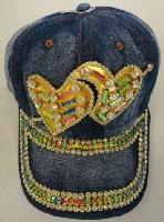 Denim Hat with Bling [Double Hearts] Gold